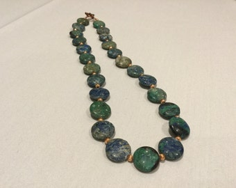 Gorgeous green and blue calsilica necklace