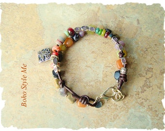 Boho Bracelet, Bohemian Jewelry, Handmade Beaded Stone Bracelet, Earthy Rustc Jewelry, Boho Style Me, Kaye Kraus