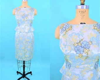 "1950s cocktail dress | blue yellow floral brocade sequin detail top dress set | vintage 50s dress | W 27"""