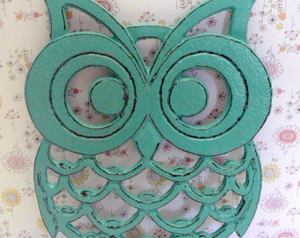 Owl Trivet Hot Plate Rich Medium Aqua Turquoise Shabby Style Distressed Kitchen Rustic Chic Woodsy Decor Aqua Blue Ornate Cast Iron