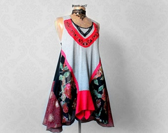 Boho Clothing Flowing Flowy Top Upcycled Long Shirt Ladies Floral Tank Gypsy Chic Clothes Fit Flare Tunic Dress Lagenlook Fashion M 'AVERY'