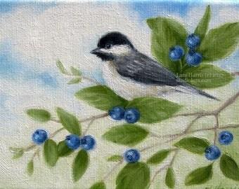 CUSTOM Summer Chickadee in Blueberries....Mini Painting in Oil by LARA 5x7 Bird Nature Still Life