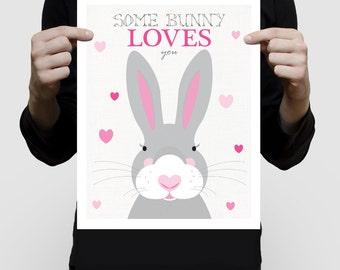 rabbit nursery art print for baby girl - bunny love with hearts - woodland animal art, nursery decor, cute child's bedroom art forest animal