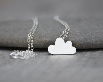 Lucky Happy Cloud Necklace, Fluffy Cloud Necklace In Sterling Silver, Handmade In The UK
