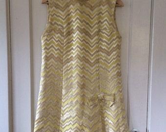 Metallic Gold and Yellow Chevron Mod Shift Cocktail Dress - Size Medium