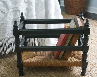 Vintage magazine rack restored, book storage, basket, woven rush modern farmhouse decor