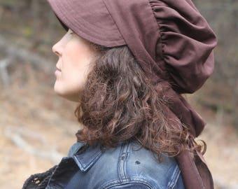 Linen Wrap Bonnet in Cocao Brown