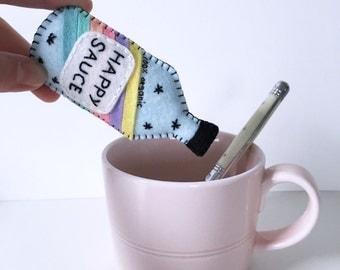Happy Sauce plushie, happy day cute plushie, pocket plush toy, rainbows and unicorn, novelty gift, handsewn felt bottle, HibouDesigns