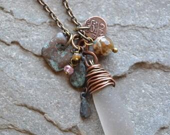 Genuine Sea Glass Necklace, Low Tide Treasure Cluster Pendant, Beach Sea Glass Jewelry