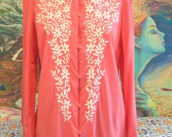 Embroidered blouse, Long sleeve Blouse, Floral embroidered shirt, Coral tunic, size M