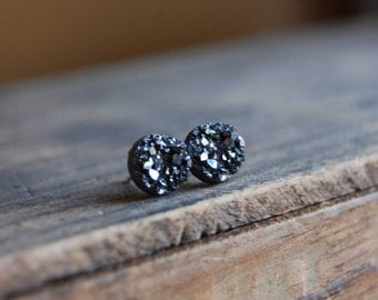 Sterling Silver Posts. Gunmetal Silver Faux Druzy Rough Crystal Stud Earrings-Dainty 8mm