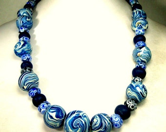 Denim Blue n White Bead Necklace, Swirled Handmade Femo Beads, and Dotted Glass,  ART Statement by Rachelle Starr OOAK