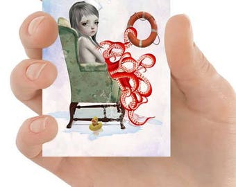 Octopus Girl ACEO Card - Lowbrow ACEO Card - Artist Trading Card - Forever Blowing Bubbles