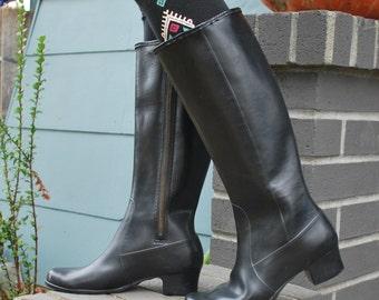 Vintage Mod Waterproof Black Rubber Boots Rain Boots