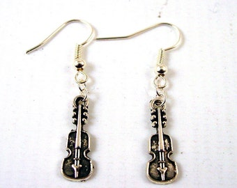 Violin Earrings  - Musical Instrument Earrings - Cello Earrings