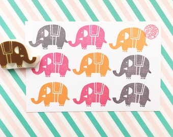 circus baby elephant stamp, animal hand carved rubber stamp, diy baby shower birthday christmas party favors, no1