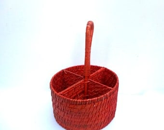 Vintage Wicker Storage Basket Red With 4 Sections Round With Handle Some Age Spots And Wear 11 Inches Tall 8 Inches Wide Cottage Chic Rustic