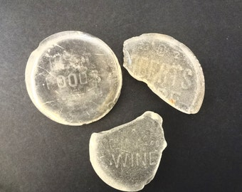 Lot Of 3 Sea Glass Jar Bottle Bottoms Clear With Writing Ocean Tumbled These Words On Bottom Best Foods Wine Roberts