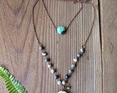 Gray and White Layer Boho Necklace