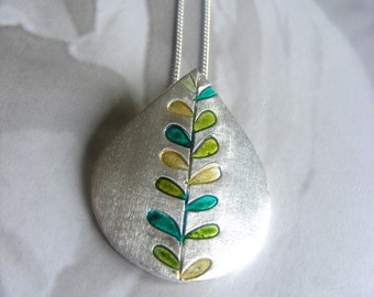 Spring Green Fine Silver Leaf Print Necklace
