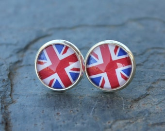 Union Jack Silver Post Earrings -UK British flag images with glass domes, on silver plated posts - free shipping USA