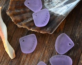 Lilac Purple, Scallop Sea Shell Glass Beads, 24x20mm, 2 pcs top drilled / Cultured Glass Beads, Glass Pendants, Sea Glass / Supplies