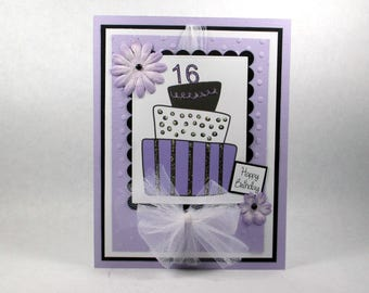 Birthday cards, girls birthday cards, sweet 16, sweet 16th, purple, happy birthday, birthday cake, womens birthday