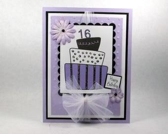 Birthday cards, girls birthday cards, sweet 16, sweet 16th, purple, happy birthday, birthday cake, womens birthday
