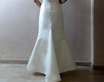 WEDDING SKIRT Mermaid Fishtail  Satin Maxi Skirt Two-Piece Wedding Gown /Robe de mariée