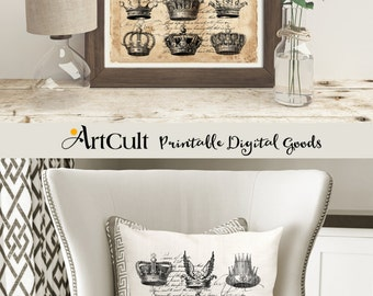 Printable Images BW CROWNS Two Digital Sheets to print on fabric or paper, Iron On Transfer for tote bags t-shirts pillows home decoration