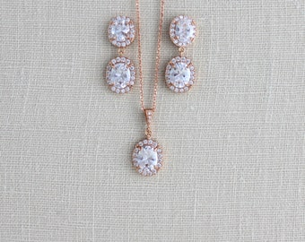 Rose Gold Bridal necklace, Crystal Bridal necklace, Wedding jewelry, Oval crystal necklace, Swarovski necklace, Simple Wedding necklace