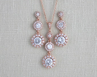 Rose Gold Necklace, Rose Gold earrings, Bridal jewelry, Jewelry set, Wedding jewelry, Swarovski Necklace set, Bridesmaids gift, Necklace set