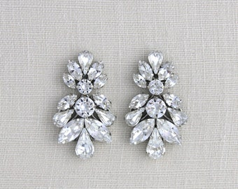 Crystal Bridal earrings, Wedding earrings, Bridal jewelry, Swarovski earrings, Statement earrings Chandelier earrings Vintage style earrings