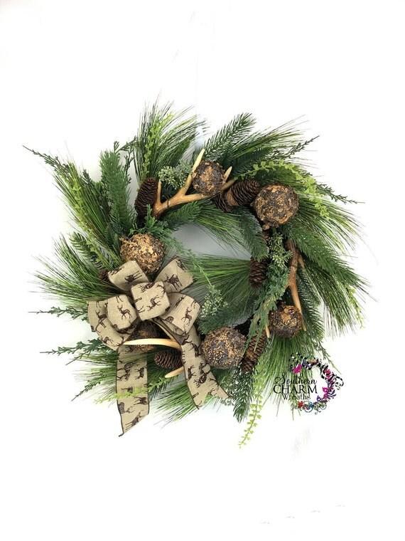 Deer antler wreath rustic christmas wreath southern wreath for Antler christmas wreath