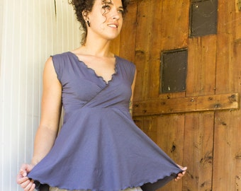 Jadis V-Neck Tank Top - Organic Cotton Blend - Made to Order - Many Colors Available - Eco Fashion - Boho Chic