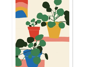 Pilea Shelfie // Pilea Illustration // Colourful Print // Botanical Print // Botanical Illustration