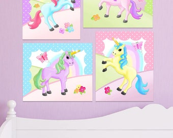 Set of 4 Rainbow Unicorn Stretched Canvases Baby Nursery CANVAS Bedroom Wall Art 4CS041