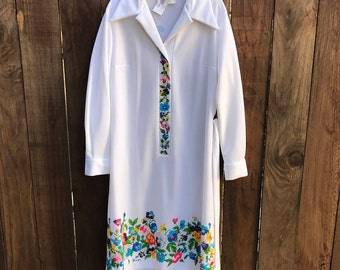 Vintage 1960s Signed Serbin Muriel Ryan Long Shirt Dress Sheath Long Sleeve Colorful Pansy Flowers Reto Mod Mid-Century L Large XL