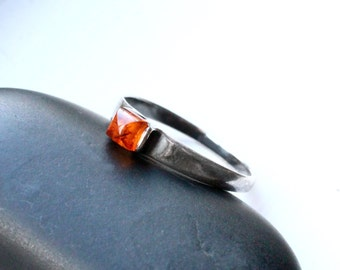 "Amber Ring, Size 8, Oxidized Sterling Silver - ""Forest Spark"" from CircesHouse on Etsy"
