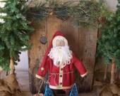 "PRiMiTiVe Standing Santa Art Doll & Vintage Bottle Brush Christmas Trees   ""Stand Up Kinda Guy"""