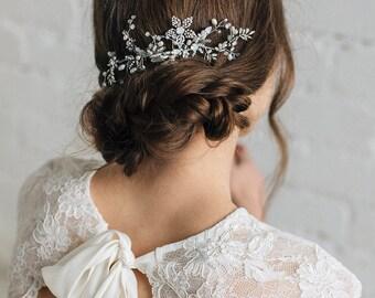 Bridal Hair Comb, Wedding Hair Accessories, Bridal Hair Piece , Floral Wedding Hair Accessory ,Crystal Pearl Opal Swarovski Hair Comb