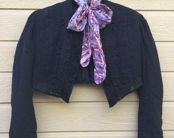 Antique Jacket / Mourning Jacket/ Cropped jacket/ Black / Victorian clothing / Linen/ Satin/  Embroidery/ XXS/ Women's clothing