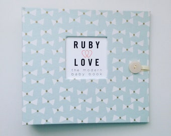 Vintage Seafoam Bow Ties Baby Book - Ruby Love Modern Baby Memory Book