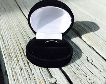 Black velvet ring box white satin lining / engagement ring box / round wedding band display box / velour gift box lined/ hinged storage box