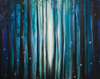 Firefly Painting - Original Forest Painting in Acrylic on Canvas
