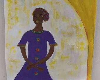 black african woman art ,black woman painting, black woman,purple dress