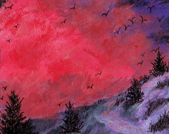 ACEO Snow Covered Mountain Road Sundown Skies Evergreen Silhouettes Original Miniature Acrylic + Ink Collectible Painting by Pat Adams OOAK