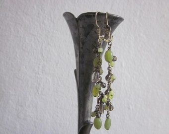 Gold washed Sterling Silver wrapped Green and Smoky Grey stone earrings