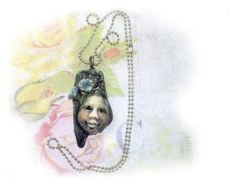 focal necklace - clay beads , ceramic pendant, ceramic necklace , Handmade ceramic bead,     # 26