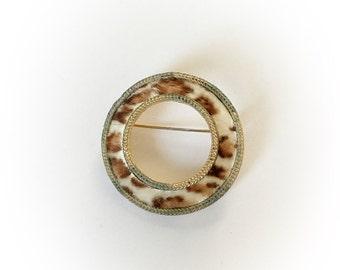Vintage BSK Leopard Faux Fur Circle Brooch